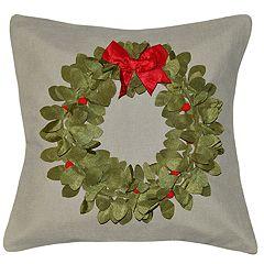 Spencer Home Decor Pom Pom Wreath Holiday Throw Pillow