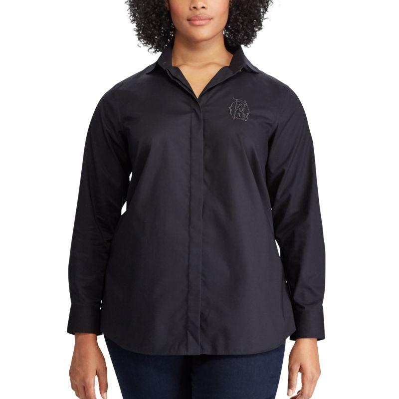 Plus Size Chaps Broadcloth No Iron Shirt, Women's, Size: 1XL, Black thumbnail