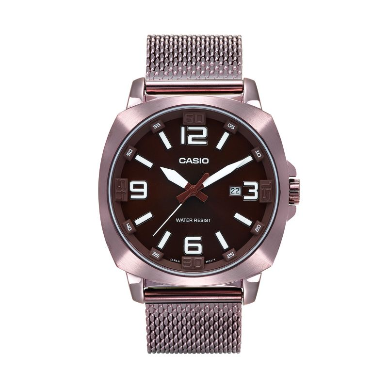 Casio Men's Stainless Steel Mesh Watch - MTP1350DD-5A, Size: Large, Brown thumbnail