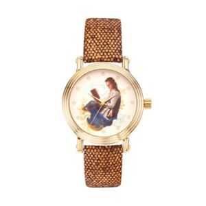 Disney's Beauty and the Beast Princess Belle Women's Sequin Leather Watch