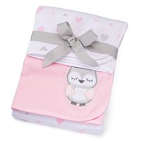 Just Born 2-pk. Animal & Heart Receiving Blankets