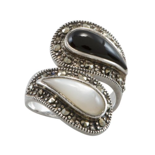 Sterling Silver Onyx and Mother-of-Pearl Ring