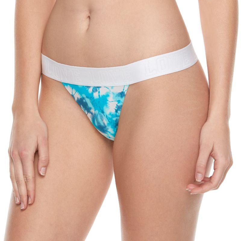Juniors' SO® Love Elastic Thong Panty, Size: Large, Turquoise/Blue (Turq/Aqua) thumbnail