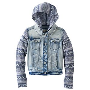 Girls Plus Size Mudd® Knit Hooded Denim Jacket