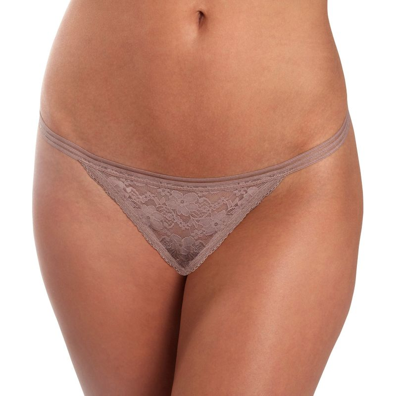 Juniors' Candie's® Lace String Thong Panty, Size: Large, Med Beige thumbnail