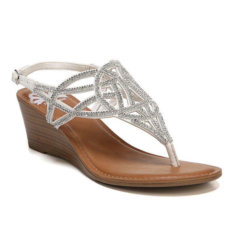 Fergalicious Charity Women's Wedge Sandals, Size: medium (5), White thumbnail