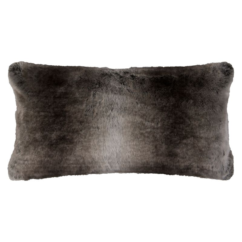 Rizzy Home Solid Faux Fur Oblong Throw Pillow, Dark Beige thumbnail