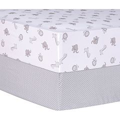 Trend Lab Safari and Dot 2-Pack Fitted Crib Sheet Set by