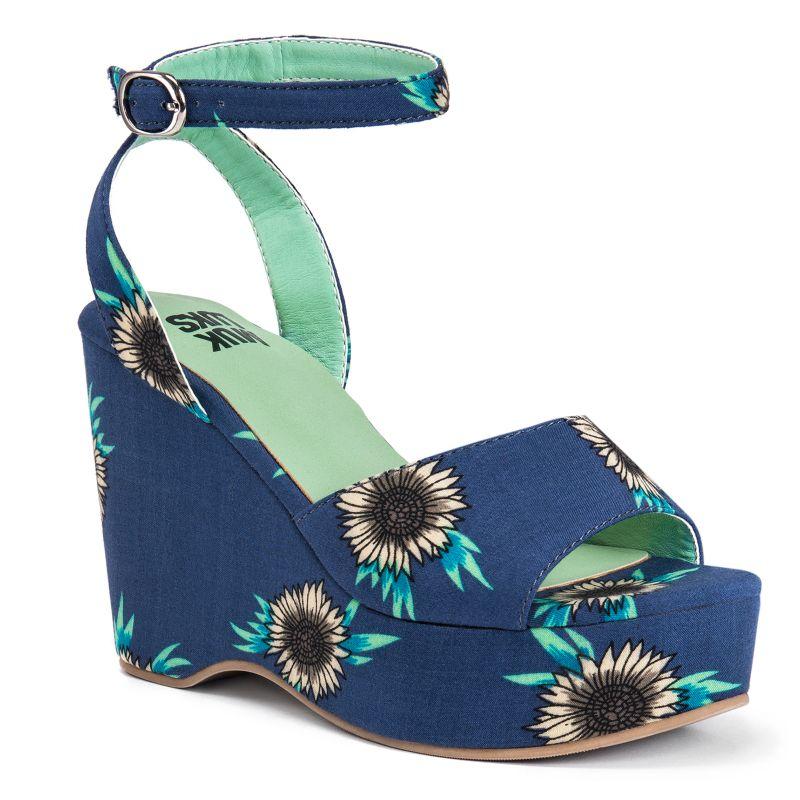 MUK LUKS Elodie Women's Wedge Sandals, Size: 6, Blue (Navy) thumbnail