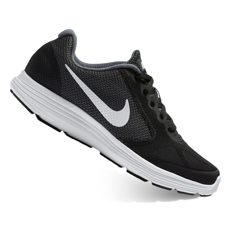 Nike Revolution 3 Grade-School Boys' Running Shoes, Size: 6 Wide, Black thumbnail