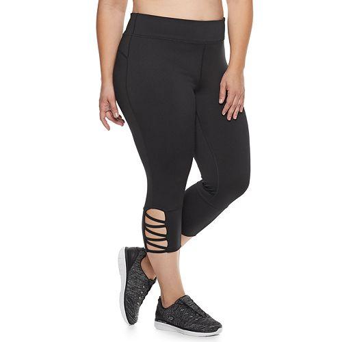 ff584206f19c3 Plus Size Tek Gear® Performance Pieced Mesh Midrise Capri Leggings