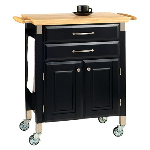 Dolly Madison Prep and Serve Kitchen Cart - Natural Wood Top