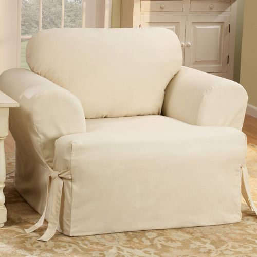 Sure Fit Solid Duck Cloth T-Cushion Chair Slipcover