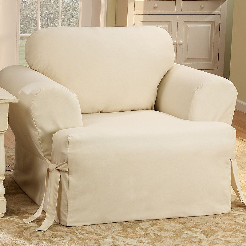 Sure Fit Solid Duck Cloth T Cushion Chair Slipcover
