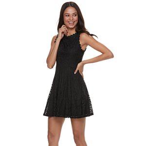 758fc0129fb Juniors  IZ Byer Halter Scalloped Cutaway High-Low Dress