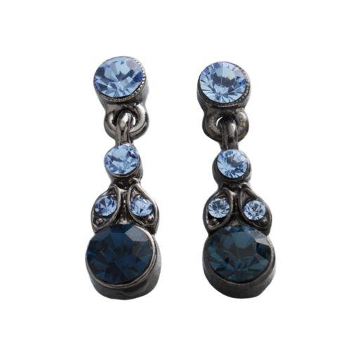1928 Jet Blue Simulated Crystal Drop Earrings