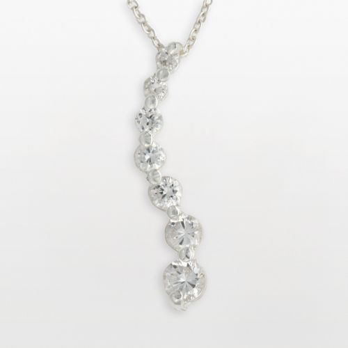 Sterling Silver Cubic Zirconia Journey Pendant