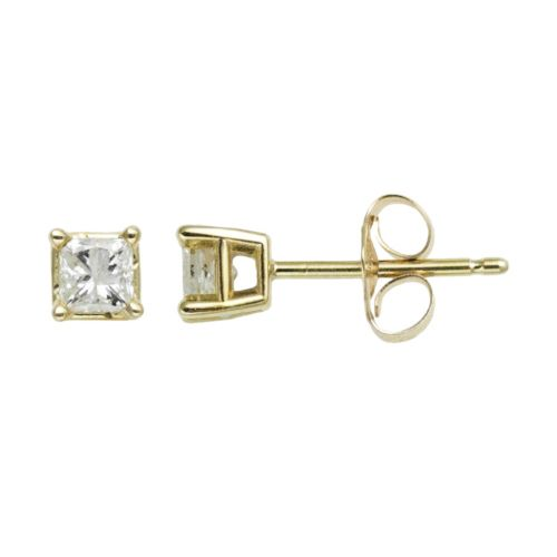 14k Gold 1/3-ct. T.W. Princess-Cut Diamond Solitaire Earrings