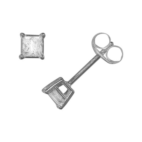 14k White Gold 1/3-ct. T.W. Princess-Cut Diamond Solitaire Earrings