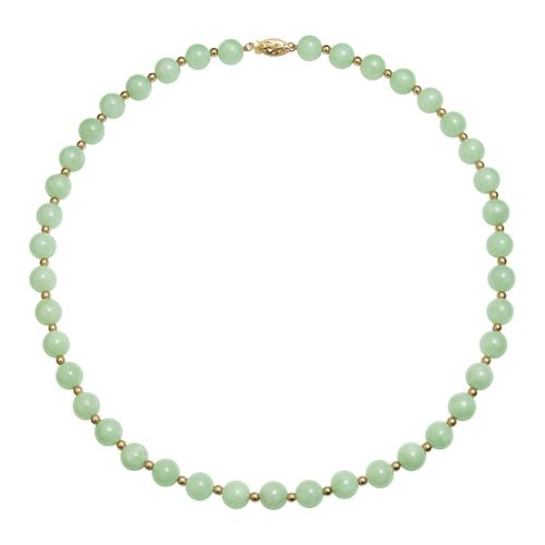 14k Gold Bead Jade Necklace
