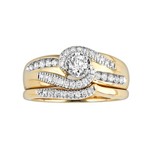 Cherish Always Round-Cut Certified Diamond Engagement Ring Set in 14k Gold (1/2 ct. T.W.)