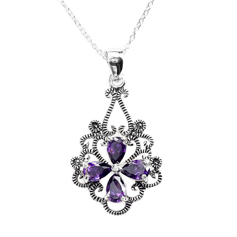Sterling Silver Amethyst Cubic Zirconia Pendant