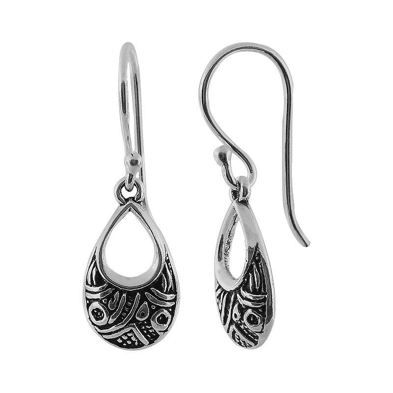 Sterling Silver Bali Teardrop Earrings