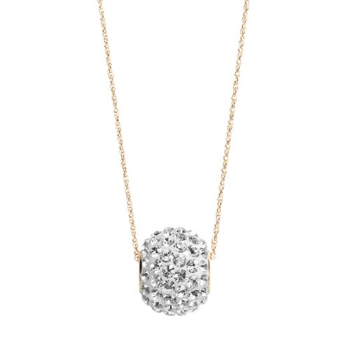 Gold 'N' Ice 10k Gold Crystal Spinner Ball Pendant - Made with Swarovski Elements