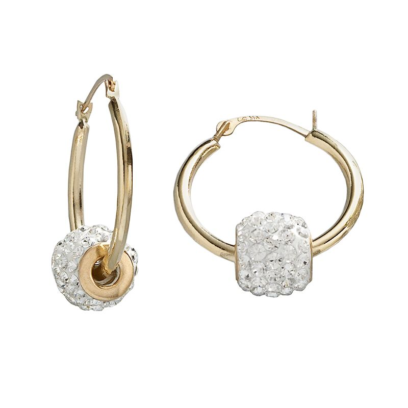 Gold 'N' Ice 10k Gold Crystal Spinner Ball Hoop Earrings - Made with Swarovski Crystals