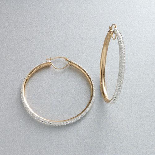 Gold 'N' Ice 10k Gold Crystal Hoop Earrings - Made with Swarovski Elements