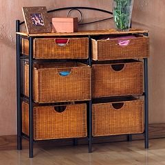 Iron and Wicker Storage Cabinet by