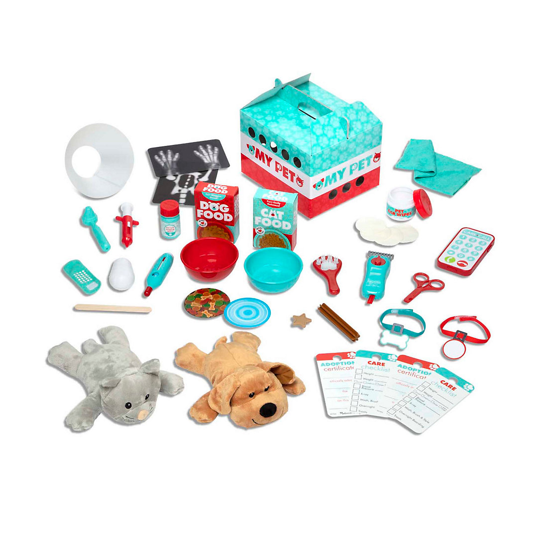 Melissa Doug Adopt A Pal Deluxe Vet And Groomer Animal Care Wooden Activity Center With 49 Plush Accessories