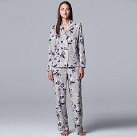 Simply Vera Vera Wang Long Notch Collar Womens Pajama Set Deals