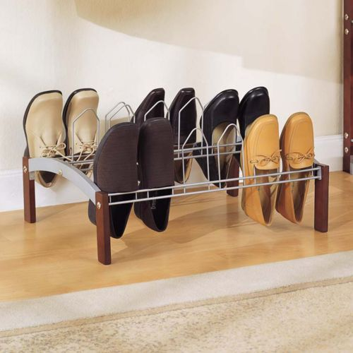 Neu Home 18-Prong Metal Concord Shoe Rack - Espresso Brown