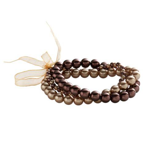 Croft & Barrow® Chocolate and Caramel Simulated Pearl Stretch Bracelet Set