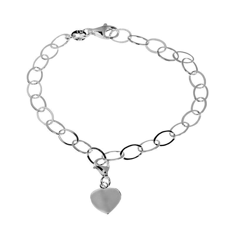 Sterling Silver Oval-Link Heart Bracelet
