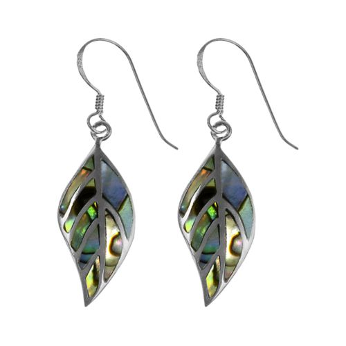 Sterling Silver Abalone Leaf Earrings