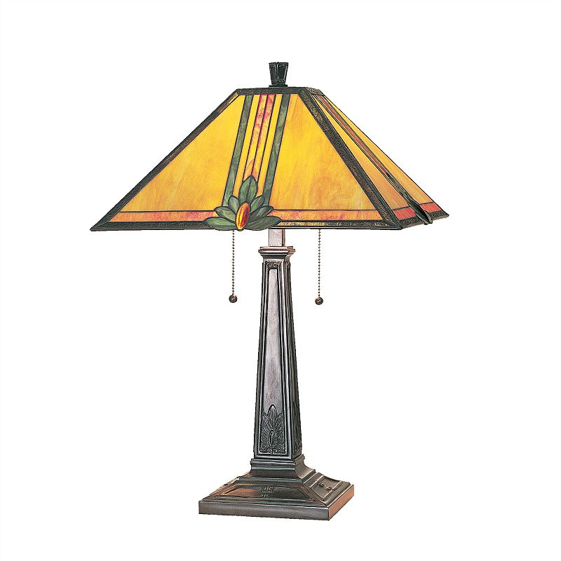 Maple Jewel Stained-Glass Table Lamp