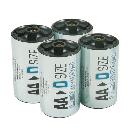 Lenmar 4-pk. D Size Battery Shell Adapters