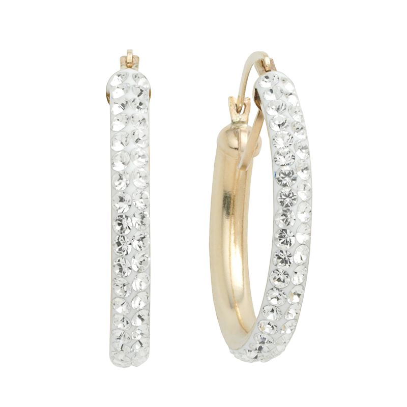Gold 'N' Ice 10k Gold Crystal Hoop Earrings - Made with Swarovski Crystals