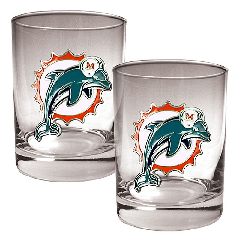Miami Dolphins 2-pc. Rocks Glass Set