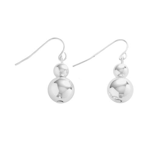 Chaps Silver-Tone Beaded Drop Earrings