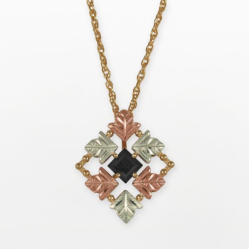 Black Hills Gold Tri-Tone Onyx Leaf Pendant