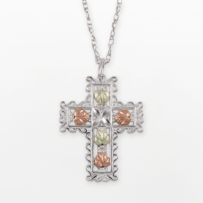 Black Hills Gold Tri-Tone Cross Pendant in Sterling Silver