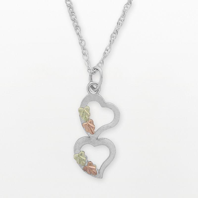 Black Hills Gold Tri-Tone Leaf Heart Pendant in Sterling Silver