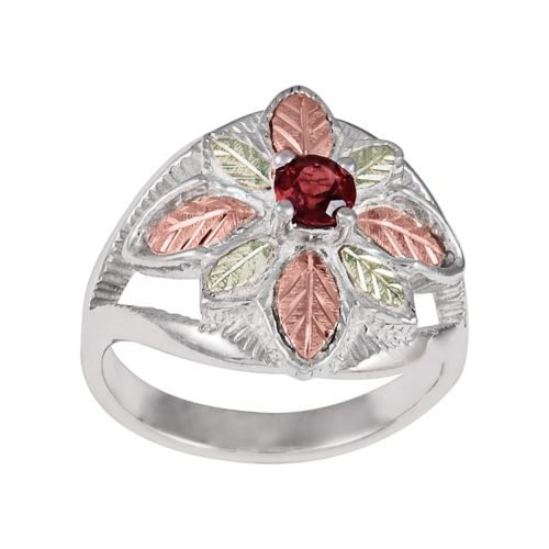 Black Hills Gold Tri-Tone Garnet Leaf Ring in Sterling Silver