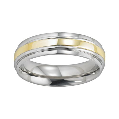 Cherish Always Men's Two Tone Stainless Steel Wedding Band