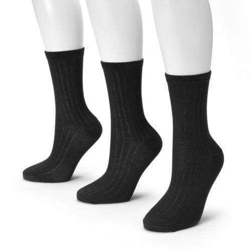 SONOMA life + style® 3-pk. Ribbed Crew Socks