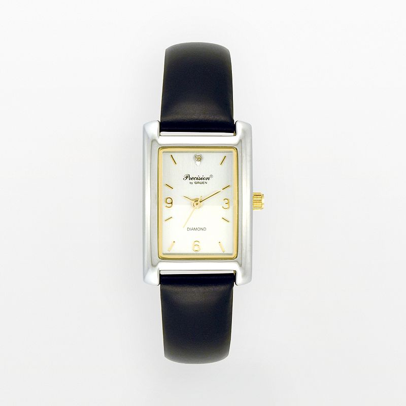 Precision by Gruen Two Tone Leather Watch - Women