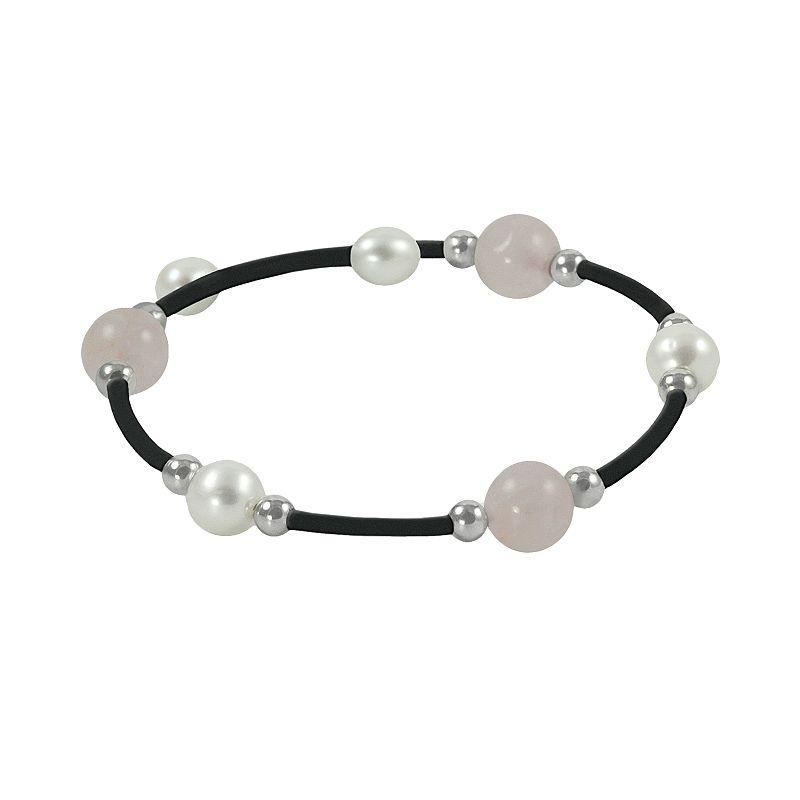 Sterling Silver Freshwater Cultured Pearl and Rose Quartz Stretch Bracelet